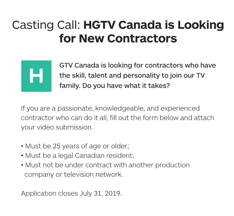 Casting Call - Enter | HGTV Canada